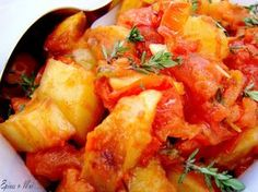 Pommes de terre à la portugaise Potato Dishes, Potato Recipes, Cooking Recipes, Healthy Recipes, Portuguese Recipes, Curry, Veggies, Food And Drink, Lunch