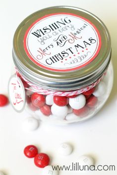 Merry and Magical (m & m's in jar) Christmas Jar idea & FREE Printable Tag!