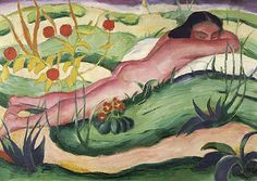 Nude Lying In The Flowers, 1910 by Franz Marc. Expressionism. nude painting (nu)
