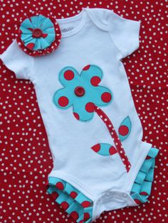 Ruffled onesie with matching hair clip flower by SMPstore on Etsy, $24.00