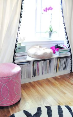 Curtains and pouf for free standing closet.