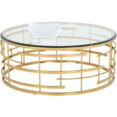 This truly vibrant coffee table* pays ode to art deco. Featuring a stunning detailed yellow gold steel frame that will define any living or lounge space. Finished with a clear tempered glass top.Dimensions: x x in*has a matching side table Round Glass Coffee Table, Oval Coffee Tables, Lift Top Coffee Table, Coffee Table With Storage, Kare Design, Houndstooth Coffee, Coffee Table Wayfair, Sofa End Tables, Occasional Tables
