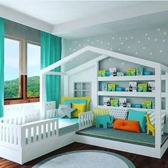 How perfect is this room setup for 1 or 2 kids?!  Loving everything about it!! #pinterestfind #kidsroomdecor #room #readingnook
