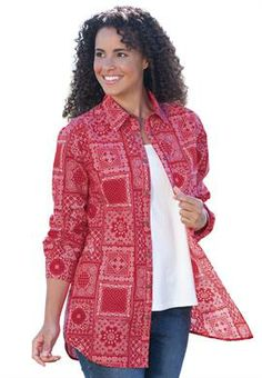 Bandana print big shirt in tunic length with snap front   Plus Size Long Sleeve   OneStopPlus