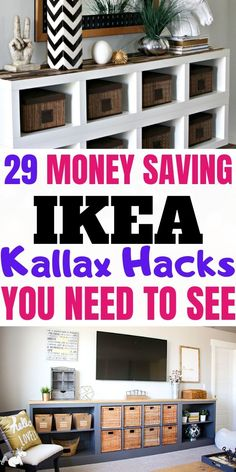 With these Ikea Kallax hacks you can easily transform your Kallax (expedit) on a budget into a furniture piece that looks more expensive than it really is!