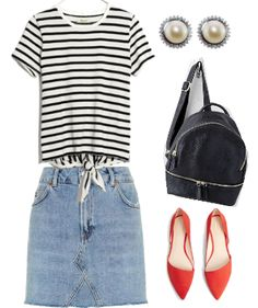 fafcae38c2462 Denim mini skirt outfit and styling tips  Striped tie front tee shirt