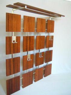 Danish rosewood wall mount coat and hat rack mid century for Corbusier sessel 00 schneider