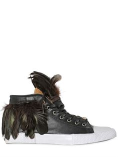 FEATHERED LEATHER HIGH TOP SNEAKERS