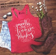 Smooth as Tennessee Whiskey Women's Lightweight Tank XS-2X Heather Gray, Vintage Black & Red Country Tank // Country Music // Southern Tank //  Cowboy Boots // American // Country Concert // R Little Company // rlittlecompany
