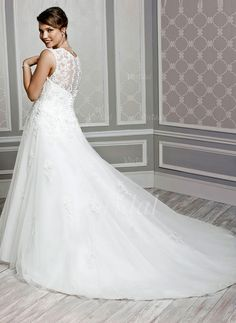Wedding Dresses - $300.13 - A-Line/Princess V-neck Chapel Train Tulle Wedding Dress With Beading Appliques Lace (0025059067)