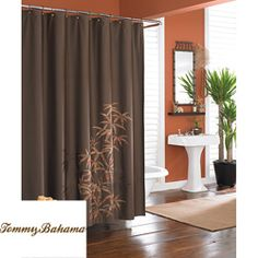 dark brown shower curtain.  Overstock This Tommy Bahama bamboo silhouette shower curtain features a dark brown solid color Shower Curtain Bathroom Wall Art Canvas Artwork Burnt Orange Brown