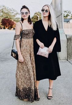 This babe has the right idea when it comes to wearing black as a block colour: look for conceptual details (those amazing sleeves) and add in so-you accessories (a cute clutch and mirror sunnies). Effortless and comfortable: two major wedding outfit deliverables, nailed