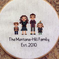 Custom Family Portrait Cross Stitch by NoBasicStitches on Etsy