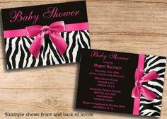 Baby Shower Invitations Zebra Stripes Pink by MollySkyInvitations, $13.99