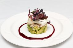 Crab & avocado tower served with a lime mayonnaise dressing