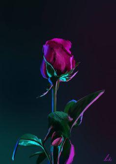 Wallpaper Iphone Neon, Rose Wallpaper, Neon Aesthetic, Aesthetic Images, Painting Digital, Digital Art, Rose Flower Photos, Flowers, Photoshop Essentials