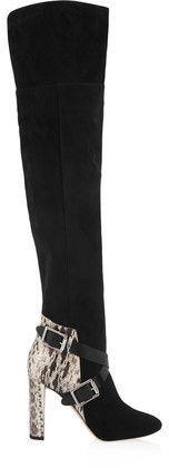 Jimmy Choo Woman Doma Elaphe-paneled Suede Over-the-knee Boots Black Size 37 Jimmy Choo London xBMwgc