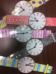 Juego para repasar las horas y media. Los alumnos se hacen su propio reloj, se lo colocan en la muñeca y van paseándose por la clase, preguntándose la hora