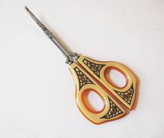 Vintage Art Deco Ivoroid and Celluloid Sewing or Nail Scissors Germany