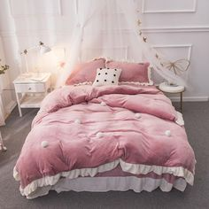Fleece Warm Bedding Sets Pink Green Purple Princess //Price: $129.83 & FREE Shipping // #lifestyle #amazing #furniture King Size Bedding Sets, Duvet Bedding Sets, Green And Purple, Pink Purple, Cute Bedding, Queen Size, Duvet Cover Sets, 1 Piece, Bed Sheets