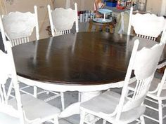 Remodelaholic » Blog Archive Re-stained and Painted White: Oak Pedestal Table And Chairs » Remodelaholic