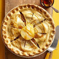 Autumn Maple-Pear Pie: Combine the rich, sweet flavors of maple and pear for a delicious pie recipe worth sharing. A ground almond pastry crust made from scratch adds an extra layer of nutty flavor. Apple Desserts, Fall Desserts, Just Desserts, Halloween Desserts, Pie Recipes, Fall Recipes, Dessert Recipes, Cooking Recipes, Almond Pastry