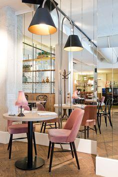 Brasserie Bardot Restaurant// Love the mid-century style pink velvet chairs//