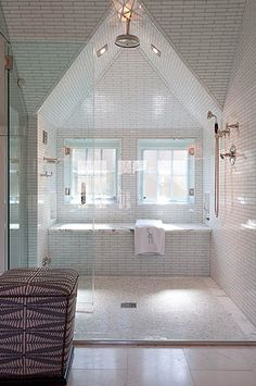 Check Out 43 Useful Attic Bathroom Design Ideas. Attic spaces are considered to be difficult to decorate due to the roofs of various shapes. Home, Dream Bathrooms, Master Bath Shower, Bathroom Inspiration, Veranda Interiors, Bathroom Decor, Bathrooms Remodel, Attic Design, Bathroom Design