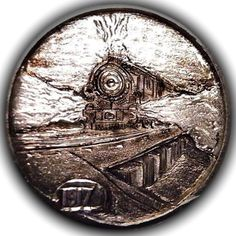 TOM MAHER HOBO NICKEL - BALDWIN PERSHING LOCOMOTIVE 17 - 1917 BUFFALO NICKEL Hobo Nickel, Coin Art, Locomotive, Precious Metals, Paper Cutting, Buffalo, Gothic, Stamps, Coins