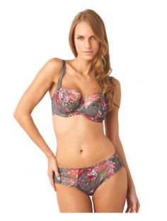 d4a60d15e2 The Panache Floris Balconette Bra is a lush floral print underwire bra  featuring Swiss embroidery at the cup tops and a rosette at centre front.