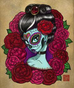 Catrina's Tattoo | Catrina Baroque Stretched Canvas by Tattoo Sandra | Society6