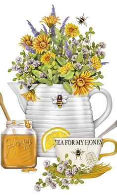 Honey Tea and Flowers 100 Cotton Flour Sack Dish Towel Tea Towel Dish Towels, Tea Towels, Etiquette Vintage, Bee Skep, Cuppa Tea, Bee Art, My Cup Of Tea, Save The Bees, Bees Knees