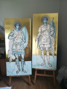 Byzantine Icons, Orthodox Icons, Drawing Techniques, Projects To Try, Sketches, Study, Drawings, Painting, Angels