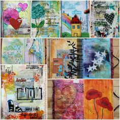 Lots of good mixed media art journaling pages and tags