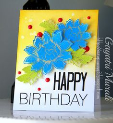 Handmade by love the opaque, colored embossing powder on vellum Happy Birthday Cards, Birthday Wishes, Studio Cards, Altenew, Card Ideas, Bloom, Embossing Powder, Diy Crafts, Watercolour
