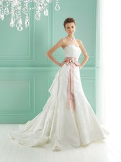 Strapless Modified Sweetheart Neckline With Detachable Blush Pink Accent Sash And Taffeta Insert In Train BowsWedding Dresses