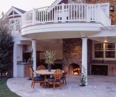 craftsman railings in white craftsman deck large porch with outdoor kitchen and fireplace a set of outdoor furniture made of wooden of 50 Inspiring Photos of Home Railing Front Ideas
