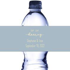 Bottled water wrapped in personalized water bottle labels custom printed with Sip, Sip Hooray design with bride and groom first names and wedding date with Vintage Blue background color and Ivory text color. Personalized Water Bottle Labels, Personalized Labels, Custom Labels, Bottled Water, Wedding Souvenir, Text Color, 50th Anniversary, Summer Wedding, Colorful Backgrounds