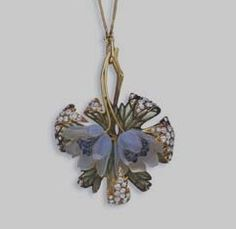 "Lalique 1890 signed Pendant Necklace: christies.com. 2 molded opalescent glass sty-lized poppy blossoms, w/in a curled light green plique-à-jour enamel/ single & old mine-cut diamonds & gold leaves, are suspended by gold leaf stems to the gold neck chain, mounted in gold, 22"": in a R.Lalique brown fitted leather case"