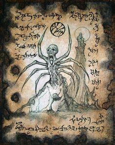 SERVANT of ATLACH Necronomicon Fragment occult horror by zarono, $10.00