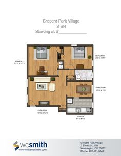 Two Bedroom Floor Plan | Crescent Park Village in Southeast Washington DC | WC Smith #Apartments | Anacostia #Rentals