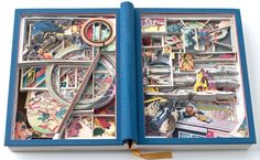 """An altered book or """"book excavation"""" Skulduggery by James Allen. """"I opened this tome of DC Comics somewhere in the middle, laid it flat, and cut down through the pages of both the front and back covers."""