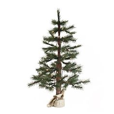 7 PreLit Norwegian Pine Artificial Christmas Twig Tree in Burlap Base  Clear Lights *** Find out more about the great product at the image link.