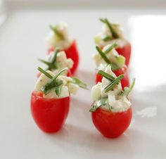Cherry Tomatoes Stuffed with Chicken Apple Salad #CorriintheKitchen #NomNomNom #Food #Appetizer #EasyRecipe
