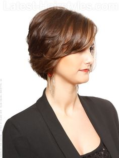 Sweet Texture Layered Brown Bob With Highlights Side View
