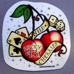 super cute Vegas themed cherry tattoo my next tattoo to add to my sleeve Rockabilly tattoos 13 Tattoos, Small Tattoos, Sleeve Tattoos, Cool Tattoos, Tattos, Old School Tattoo Arm, Old School Tattoo Sleeve, Tattoo Vieja Escuela, Rockabilly Tattoos