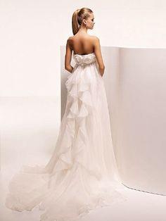 Princess Strapless Empire Ruffles Chiffon Organza Wedding Dresses