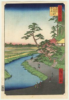 Original Hiroshige (1797 - 1858) Japanese Woodblock Print Basho's Hermitage and Camellia Hill on the Kanda Aqueduct at Sekiguchi Series; One Hundred Famous Views of Edo Uo-ya Eikichi 1918 Edition Print
