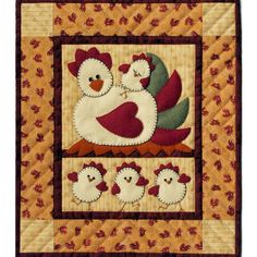 The Chicken Coop Wall Quilt Kit is a cheerful quilt that will make everyone smile!  This wall hanging quilt kit includes all of the fabrics you need to complete the entire quilt, including applique, background, backing, and binding.  Quilt batting is included too!