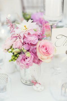 Pink Flowers in Mercury Glass Vase | photography by http://vitalicphoto.com